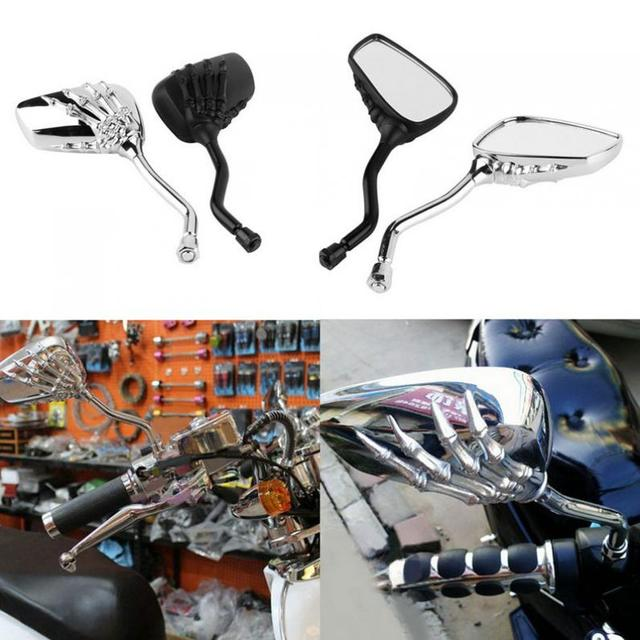 2Pcs Motorcycle Mirror Chrome SKELETON Skull HAND Claw Side Rear View Mirrors 8mm 10mm E-Bike Rearview Mirror Motor Accessories