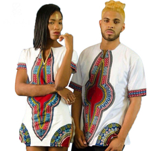 2016 summer african clothing splicing dashiki batiks wax print short sleeve tops couples dress T shirt men and women can wear