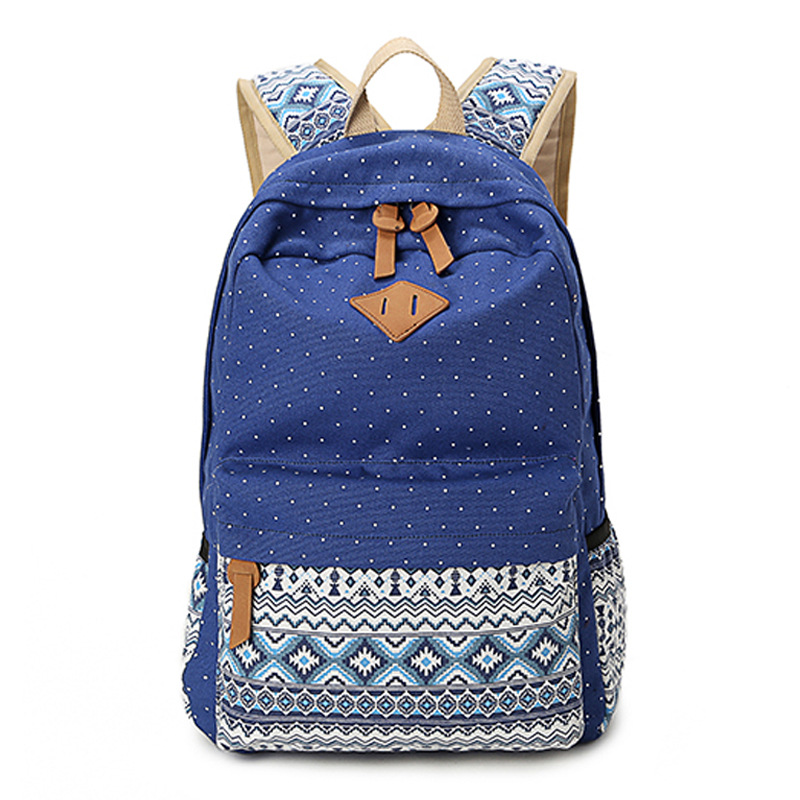 2017 Vintage Girl Cute Dot Printing Canvas Women Backpack School Bags For Teenagers Mochila Feminina Casual Bag School Backpack