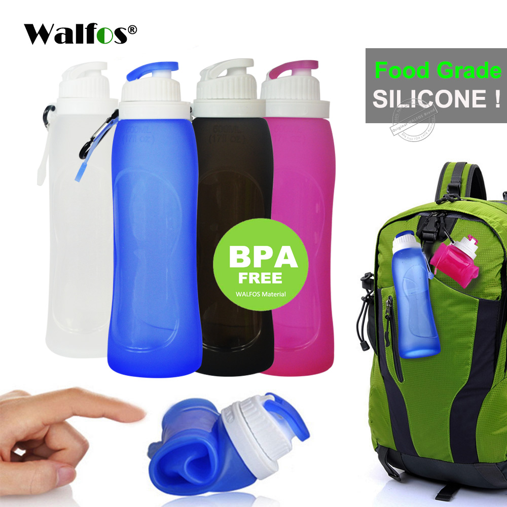 WALFOS Food Grade 500ML Luova kokoontaitettava taitettava silikoni-juoma Sport-vesipullo Leirintä Matkailu muovipyöräpullo