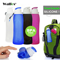 WALFOS Gıda Sınıfı 500 ML Yaratıcı Katlanabilir Katlanabilir Silikon içecek Spor Su Şişesi Kamp Seyahat plastik bisiklet şişe