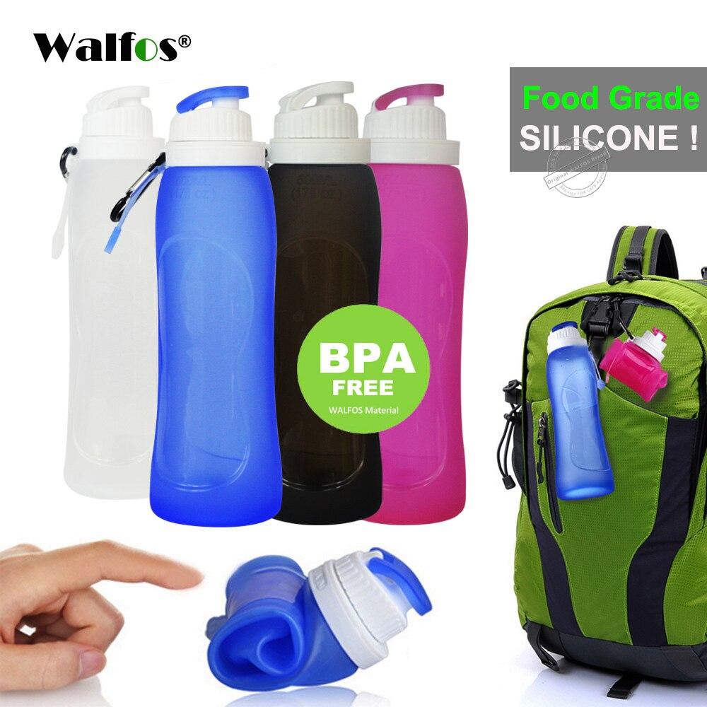 Walfos grado alimenticio 500 ml creativo plegable bebida de silicona deporte botella de agua camping viajes botella plástica de la bicicleta