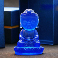 Glazed Glass Crafts Crystal Gautama Buddha Sculpture Blue Figurines Statue Furnishing Fengshui Ornaments Home Car Decor Gifts