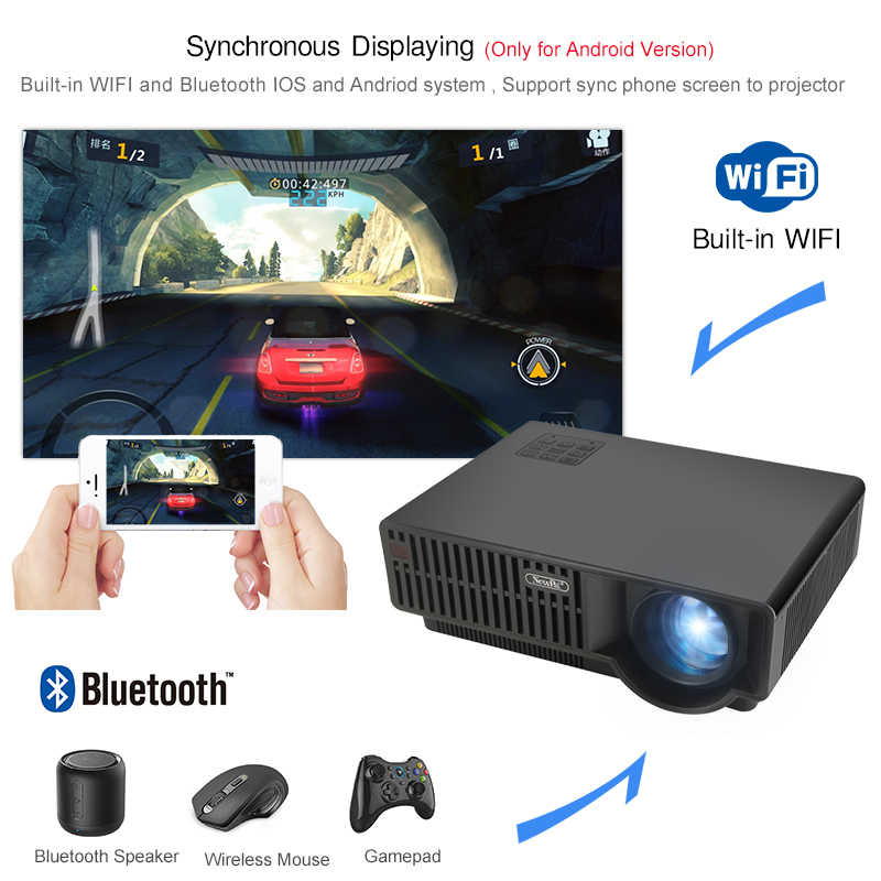 Newpal LED Projector C90UP 3500Lumen 1920x1080p Android 6.01 Full HD 4K Home Theater Beamer 3D Projector Airplay Miracast Bright