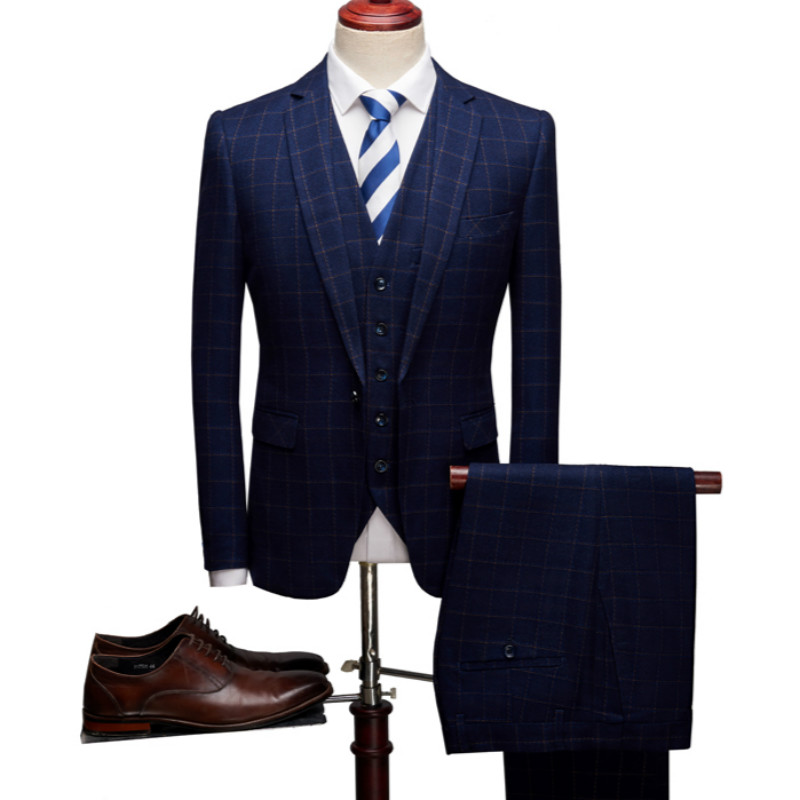 (Jacket+Vest+Pants) Men's New Business Casual Plaid Suit Set Men's Slim Fashion Suit Set Three-piece