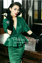 FREE SHIPPING Le Palais Vintage elegant retro emerald bat sleeve skirt shirt pencil skirt suits/woman sets