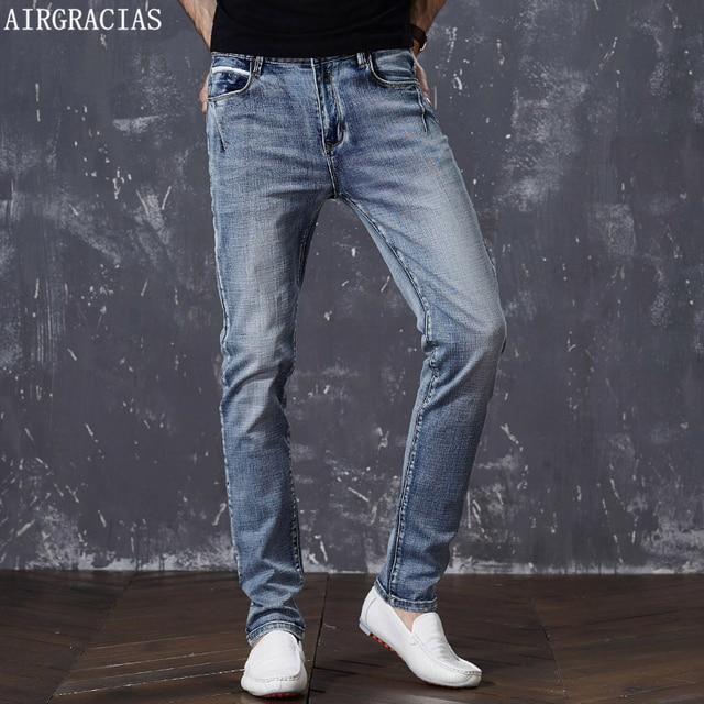 AIRGRACIASผู้ชายผ้าฝ้ายตรงคลาสสิกRetro Nostalgiaกางเกงยีนส์ฤดูใบไม้ผลิชายกางเกงยีนส์กางเกงDesignerกางเกงยีนส์ผู้ชายคุณภาพสูงขนาด28 44