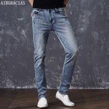 AIRGRACIAS erkek pamuklu düz klasik Retro nostalji kot bahar erkek kot pantolon tasarımcı erkek kot yüksek kaliteli boyutu 28 44