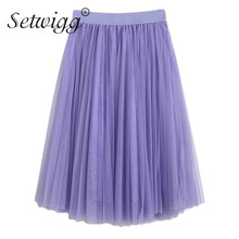 SETWIGG Candy Mesh Layered Midi A-line Skirt Stretch Waist Band Sweet Pleated Tulle Layers Princess Knee Ball Skirts 11 Colors