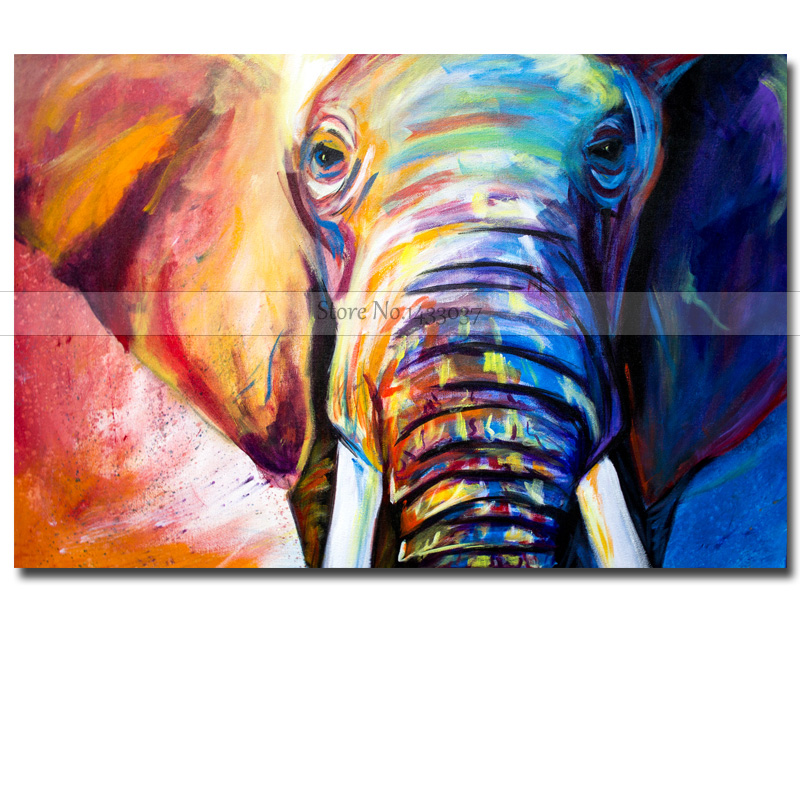 Us 24 48 49 Off Large Wall Art Hand Painted Abstract Elephant Animal Oil Paintings On Canvas Children S Room Wall Picture For Living Room Decor In
