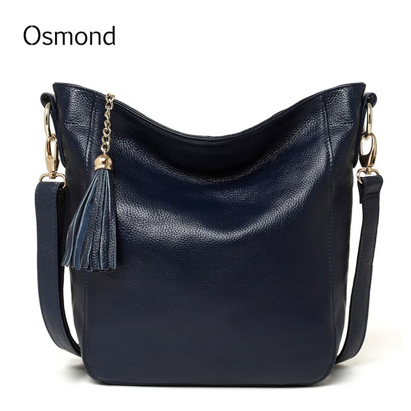 Osmond Shoulder Bags Women Messenger Bags Genuine Leather Handbags Tassels Casual Crossbody Tote Bags Bucket Bag natural selection