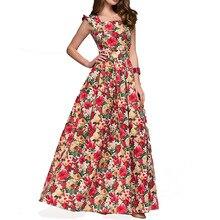 2019 New Printing Women Party Dress Sleeveless Square Collar Sexy Long Popular Vestidos Elegant Spring Summer