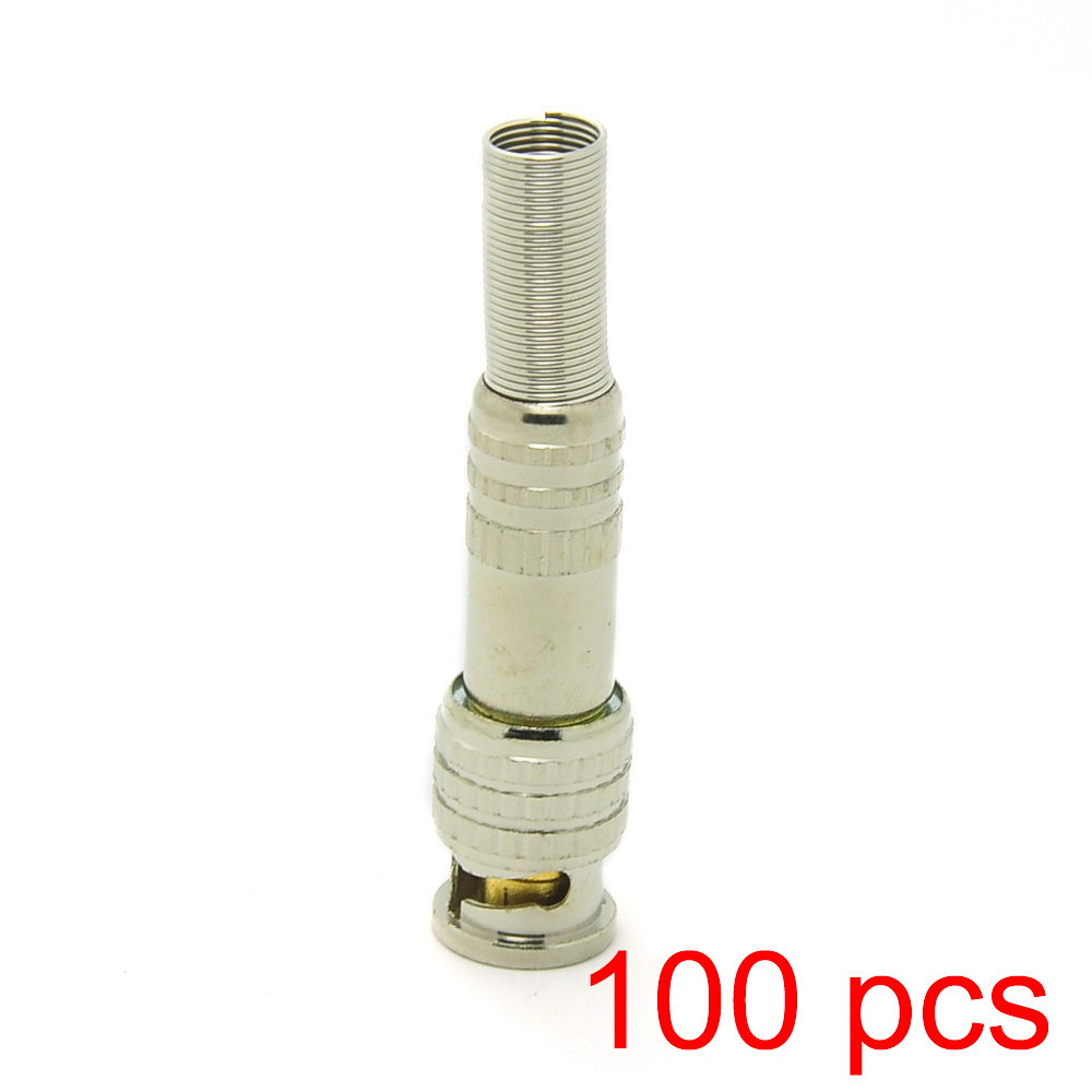 100x Soldering BNC Male Connector Plug To RG59 Coax Cable Coupler CCTV Adapter