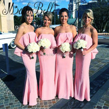 2017 Long Pink Bridesmaid Dresses Boho Hippie Chic Bohemia Maxi Beach Coral Color Formal Wedding Guest Dresses Fast Delivery