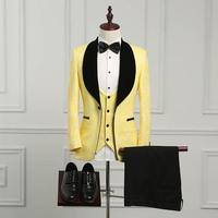 Wuzhiyi последние конструкции пальто брюки шалевыми лацканами смокинг для жениха желтый/черный Для мужчин костюмы Свадебные лучший мужчина бл