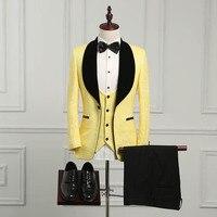 wuzhiyi Latest Coat Pant Designs Shawl Lapel Groom Tuxedos Yellow/black Men Suits Wedding Best Man Blazer (Jacket+Pants+vest)