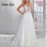 Lover Kiss Robe de Mariage сексуальное кружевное свадебное платье с цветочным рисунком пляжные свадебные платья, платья невесты прозрачные Vestido de Noiva