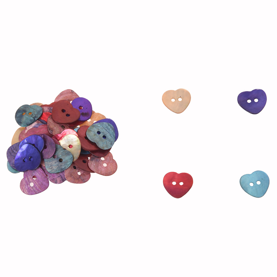 50 x 15 mm Pearl Mussels Heart Buttons TOP