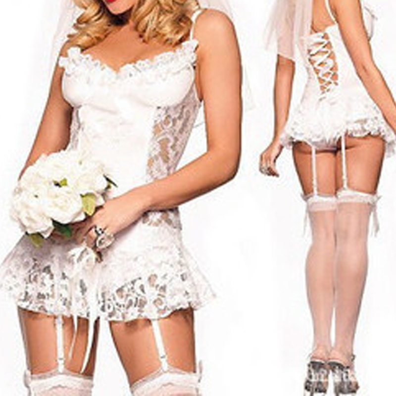 d9b0d3beb2f New Women Sexy Lingerie White Lace Bridal Wear Wedding Packages Containing  Garter Dress Fun Perspective Pajamas JL-in Sexy Costumes from Novelty    Special ...