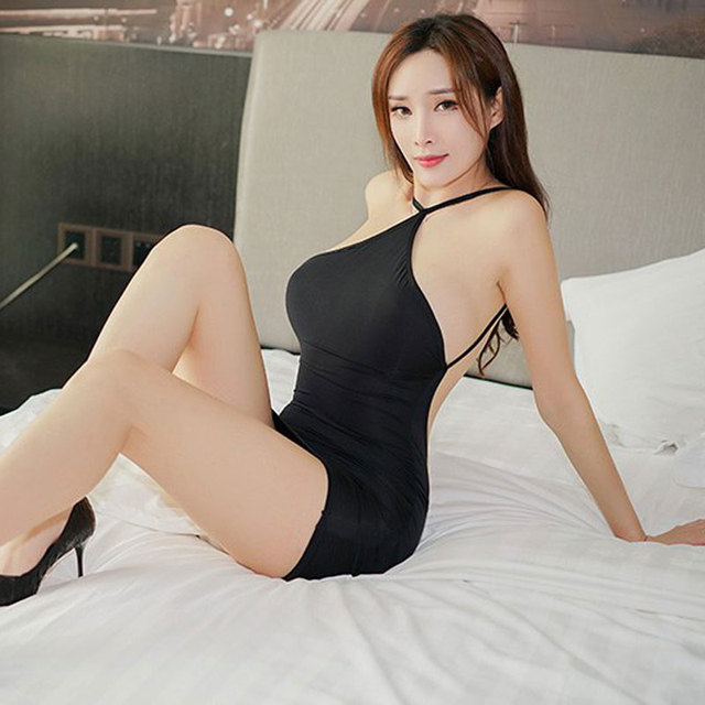 Sexy Women Strap Backless Tight Pencil Cute Dress Ice Silk Smooth See Through Micro Mini Dress Bandage Dress With G-string F9 6