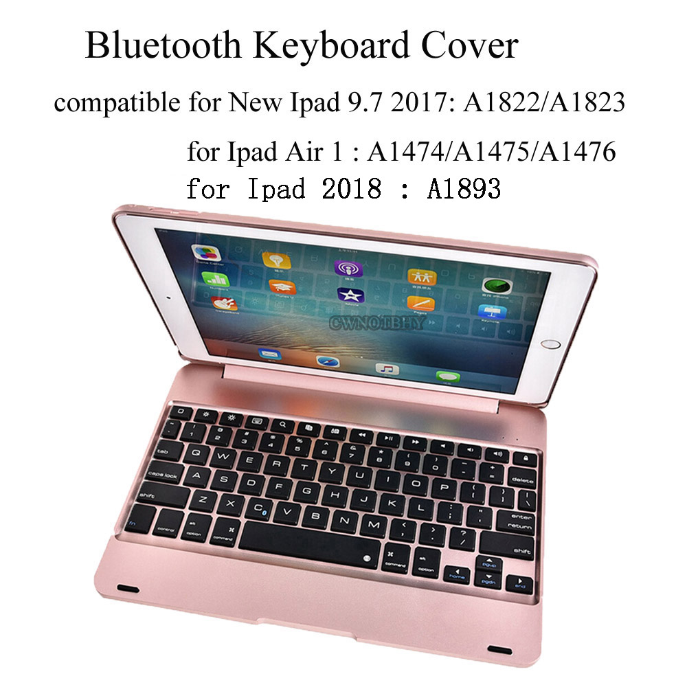 For New Ipad 9.7 2017 / Ipad 2018 A1893 Wireless Bluetooth Keyboard Ultra Slim Shell ABS Plastic Folio Stand Case For Ipad Air 1 super light plastic stand for iphone 5 ipad more green