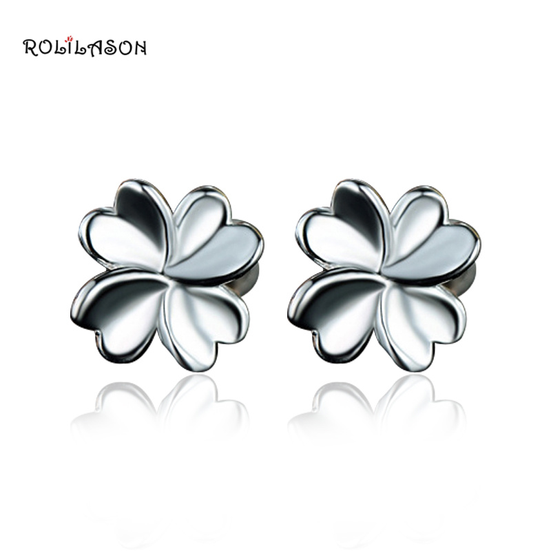 ROLILASON Personality Pure 925 sterling Silver Stud earrings S925 friend Gift flower party