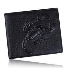 Hommes 100% En Cuir Véritable De Luxe Mini Portefeuille 2017 mâle vintage en relief scorpion mince courte marque porte-monnaie carteira masculina 5