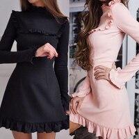 DERUILADY 2018 New Women S Sheath Spring Dresses Vintage Ruffles Slim Long Sleeve Women Clothing Sexy