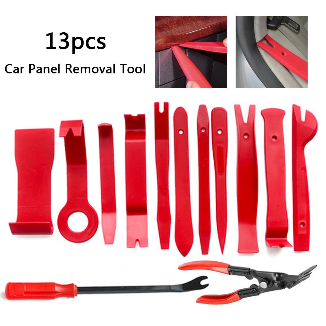13PCS Plastic Car Radio Door Clip Panel Trim Dash Audio Removal Pry Kit Tool Set