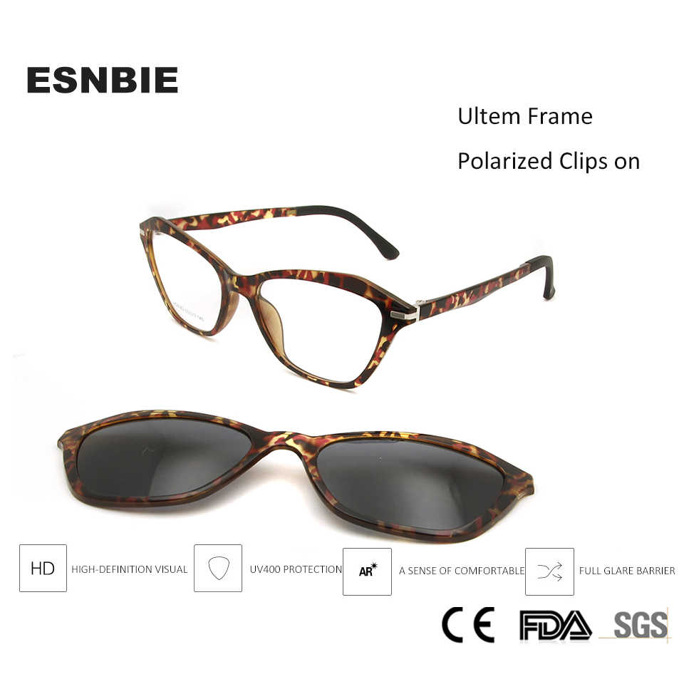 f94665f121 ESNBIE Sexy Ultem Cat Eye Glasses Frames For Women Magnetic Eyeglasses  Frame With Polarized Clip On