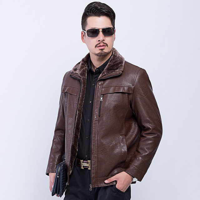 Aliexpress.com : Buy 2017 New Thick Warm Winter Leather Coat Mens ...