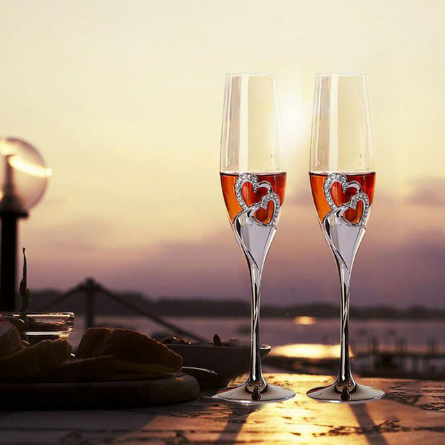 round champagne flutes glass double heart 200ml wedding glasses