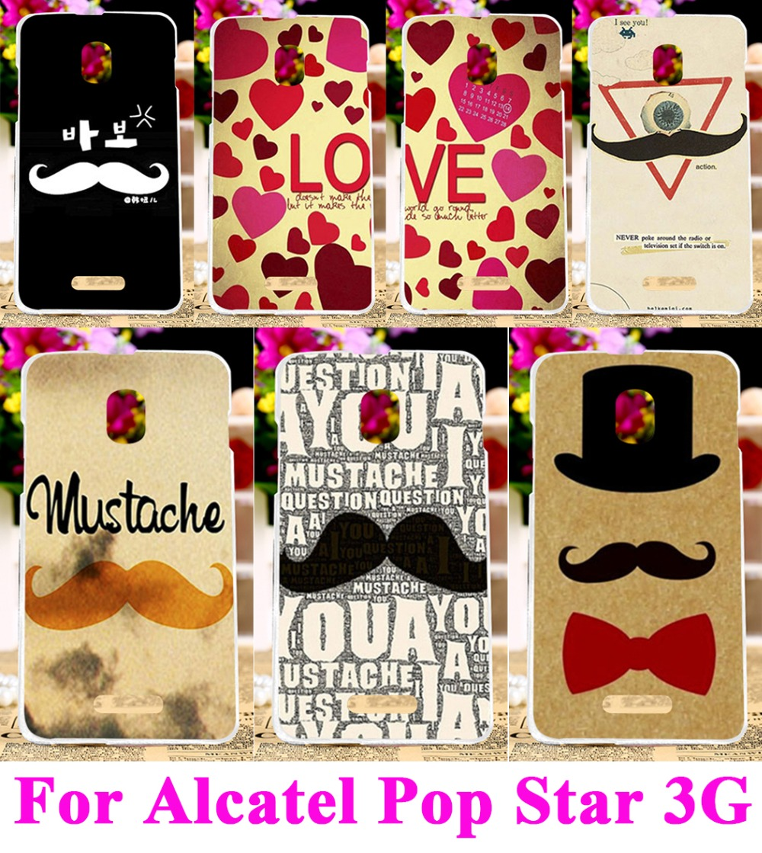 Plastic Hard Case for Alcatel <font><b>One</b></font> Touch Pop Star 5022D 3G OT5022 5022X Back Cover Protector Bags <font><b>LOVE</b></font> Moustache <font><b>Life</b></font> is a Joke