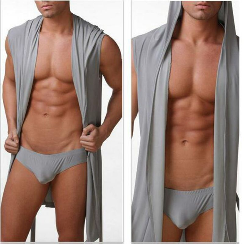 Sleepwear Bathrobes Lounge-Clothes Men's Casual Hooded Viscose Briefs Comfortable Sexy
