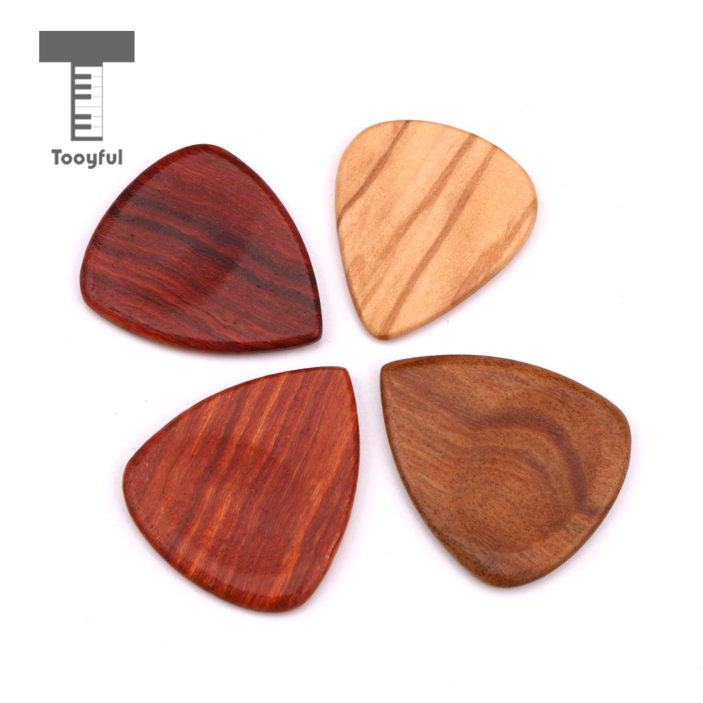 Tooyful Exquisite 4pcs Wooden Guitar Plectrums Picks with Iron Box Set Musical Instrumnet Parts for Guitar Bass Mandolin Banjo cooperstand pro g collapsible guitar bass banjo and mandolin stand with neoprene padding