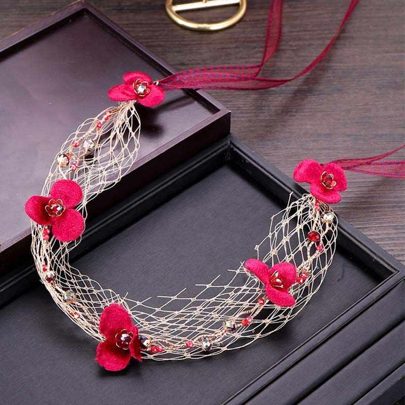 Weiß Net Schleier Rote Blume Frauen Mädchen Haar Band Haar Zubehör Tiaras Braut Noiva Stirnband Kopfschmuck Hochzeit Haar Schmuck SL