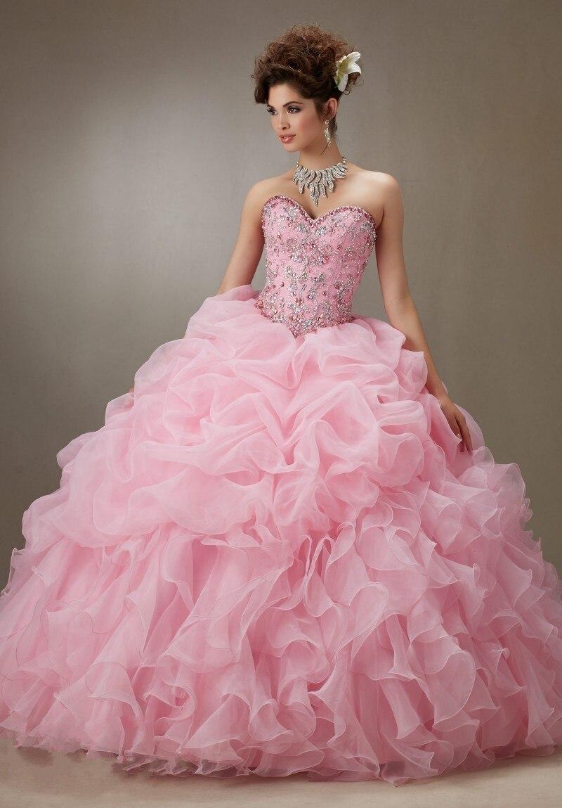 2019 Elegante Rosa Abendkleider Liebsten Perlen Lace-up Zurück Ballkleid Quinceanera Kleider Formale Kleid Vestidos De 15 Anos