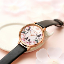 Luxury Leather Women Wristwatch Flower Butterfly