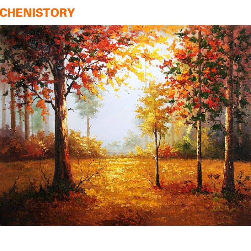 CHENISTORY paisaje de bosque otoño DIY pintura por números cuadro en la pared cuadro pintado al óleo sobre lienzo para obra de arte