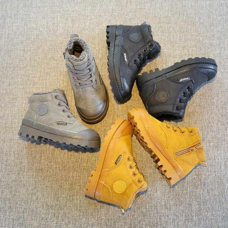 Kinderen Martin Laarzen Kunstmatige Lederen Schoenen Meisjes 2018 Winter Nieuwe Jongens Kids Laarzen Houden Warme Winter Schoenen Sneeuwveld Laarzen