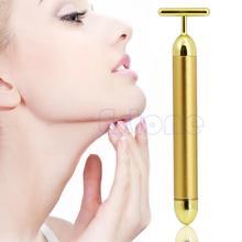 Arrive Waterproof T Shape Head Gold Facial Roller Massager Skin Care Bar