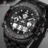 GOLDENHOUR Fashion Sports Analogue Watch Digital Dual Time Waterproof Chronograph Black Rubber Strap Male Clock Reloj Hombre
