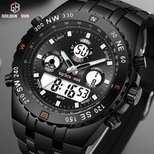 GOLDENHOUR ファッションスポーツアナログ腕時計デジタルデュアルタイム防水クロノグラフブラックラバーストラップ男性時計リロイ Hombre
