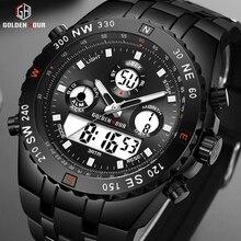 นาฬิกาข้อมือ GOLDENHOUR แฟชั่นกีฬาแบบอะนาล็อกนาฬิกานาฬิกาดิจิตอลกันน้ำแบบ Dual Chronograph สายคล้องคอสีดำชายนาฬิกา Reloj Hombre