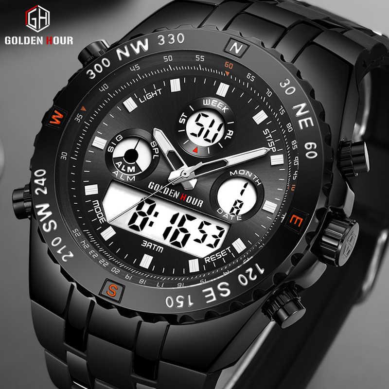 GOLDENHOUR модные спортивные аналоговые часы цифровые двойные водонепроницаемые хронограф черный резиновый ремешок мужские часы Reloj Hombre