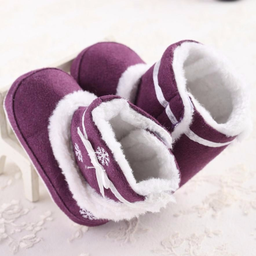 Purple red shoes for baby girls Baby boots winter Infant Soft Sole anti-slip Snow Boots Crib Shoes Toddler plush Boots Botas #JD