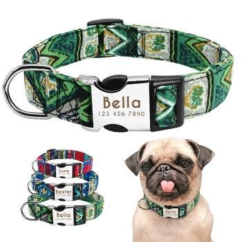 Collare di Cane Personalizzati Nylon Collare Dell'animale Domestico personalizzato Perro Targhetta Tag Collari Inciso Per Medium Large Cani Pug Bulldog Francese
