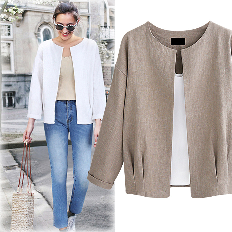 New Spring Autumn Women Jacket Coat Plus Size Fashion O-Neck Loose Solid Cardigan Thin Linen Coat For Women Large Outerwear Coat
