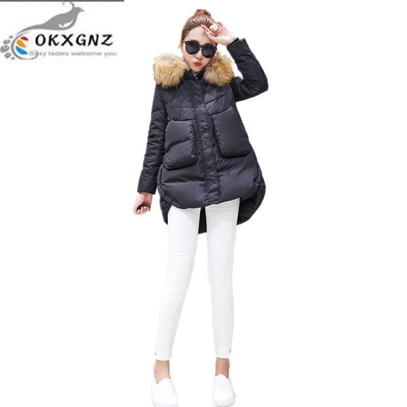 OKXGN 2017new winter fashion Big yards Women coat hooded fur collar Medium long coat Thicken warm cotton  jacket coat QQ031