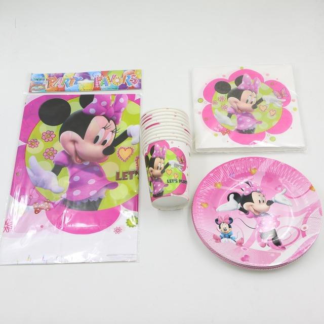 kids girls pink minnie mouse theme cartoon birthday decorations party set disposable plates cups mugs map : pink disposable plates - pezcame.com